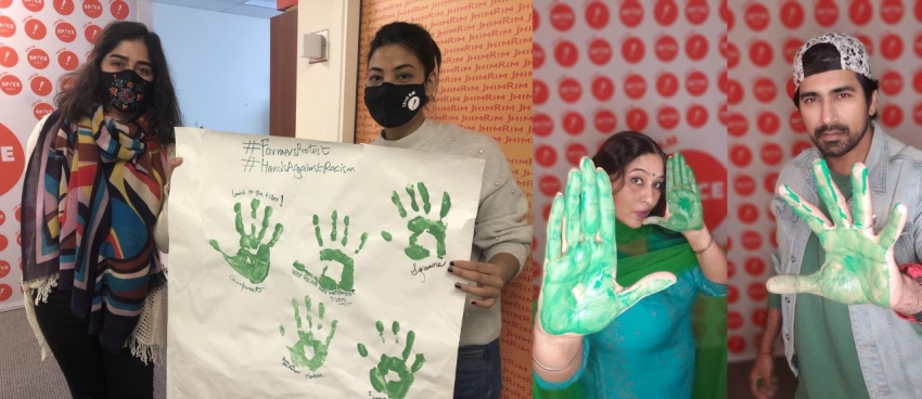 Hands Against Racism campaign team sends a message of solidarity with Indian farmers