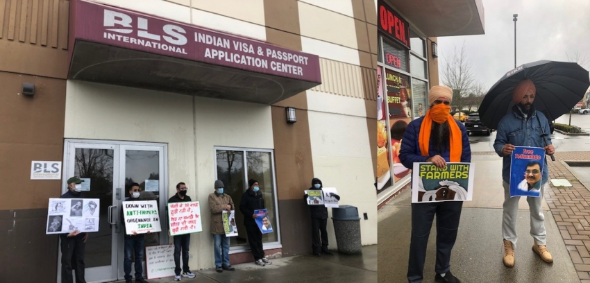 Rally against state violence held outside Indian Visa and Passport office in Surrey