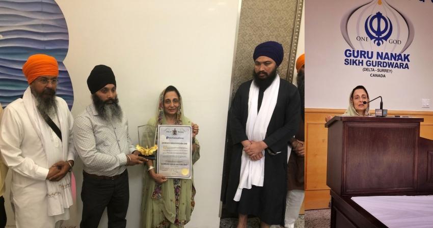 Baljinder Kaur Narang honoured by Surrey-Delta Gurdwara