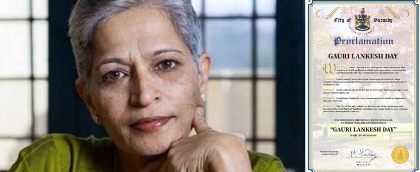 Canadian municipality proclaims Gauri Lankesh Day