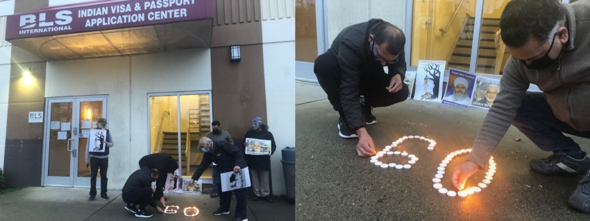 Vigil for dead farmers held outside Indian Visa and Passport application center